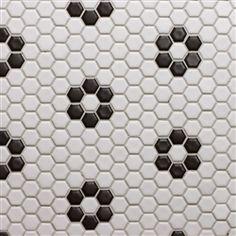 Bathroom tile-- Glazed Porcelain 1 Inch Hexagon- White with Black Rose Pattern