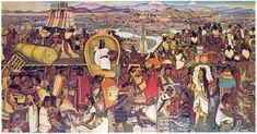 Diego Rivera-Mural of the Aztec market of Tlatelolco, Palacio Nacional, Mexico City Diego Rivera Mural, Diego Rivera Frida Kahlo, Arte Latina, Aztec Empire, Aztec Culture, Aztec Art, Mesoamerican, Mexican Art, Famous Mexican