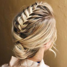 Braid Into Bun Updo For Medium Hair