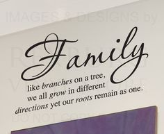 Wall Decal Sticker Quote Vinyl Art Lettering Family Like Branches on A Tree F28 | eBay