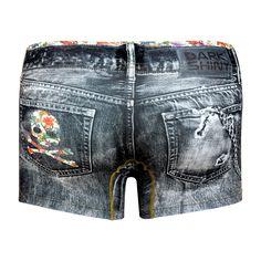 Men's Boxer Pants-Denim Black, backprint メンズファッション アンダーウェア ボクサーパンツ #darkshiny #mensfashion #boxerbrief