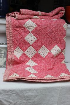 Hand Quilted Quilt Pink Checkers Cotton by Plantdreaming on Etsy, $85.00