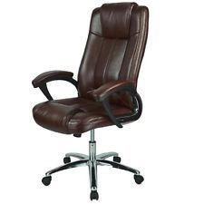 Computer Desk Office Chair PU BROWN LEATHER 360 Degree Swivel NEW! #15