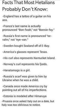 Hetalia - Facts That Most Hetalians Probably Don't Know❤
