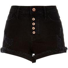 River Island Washed black distressed Ruby denim shorts (42 BRL) ❤ liked on Polyvore featuring shorts, bottoms, pants, short, black, sale, destroyed denim shorts, river island, jean shorts and short shorts