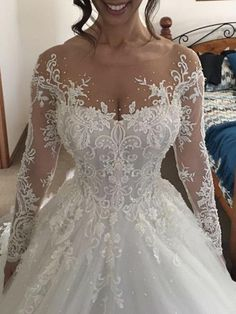 Chic Wedding Dresses Scoop Long Sleeve Ball Gown Beading Bridal Gown JKS245