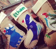 Handmade Christmas stockings using scraps of felt and burlap. Each of us has our own special animal and they were FUN to make!