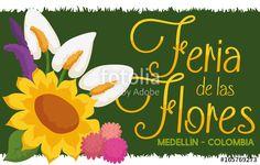Flower Arrangement over Grass Banner for Colombian Flowers Festival