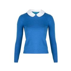 alice + olivia Roney Elbow Patch Peter Pan Collar Sweater ($165) ❤ liked on Polyvore featuring tops, sweaters, shirts, jumpers, blue shirt, collared sweater, peter pan shirt, collared shirt sweater and elbow patch shirt