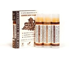 SPRING SALE • Coffee Shop Lip Balm Set - All Natural - Brandy Coffee, Hazelnut Coffee, Iced Mocha Coffee