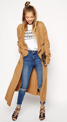 Maxi waterfall camel cardigan.