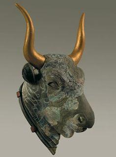Tyrehoved rhyton fra Kato Zakro, fundet ødelagt i i ruinerne af vest vinge hallen, 2. Palatial periode - minoisk
