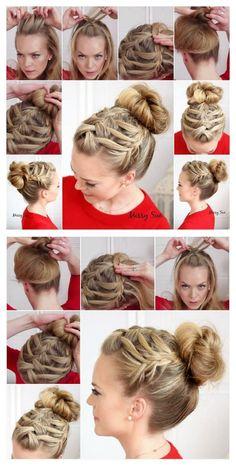 Triple French Braid Double Waterfall Hairstyle Tutorial hair long hair updo braids diy hair hairstyles updos hair tutorials easy hairstyles