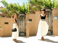 Black Tank + Brown Skinny Belt + White Maxi Skirt...