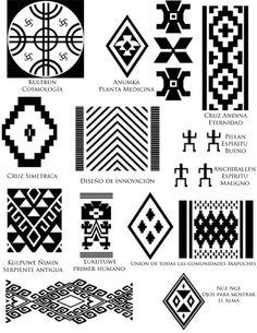 Risultati immagini per mapuche simbolos Native Symbols, Ancient Symbols, Arte Latina, Motifs Aztèques, Inkle Weaving, Inka, Tattoo Hals, Native Design, Ethnic Patterns