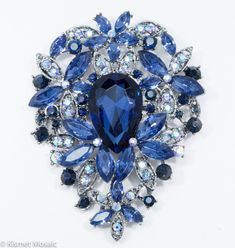 "Large Teardrop Sapphire Brooch 2.5"" x 3.5"" Use to embellish your mosaic dress (whether a form, MDF shape or mannequin) or as the focal point on a mosaic dress shoe. Just nip off the clip on back with wire cutters. (If you don't have any wire cutters, then let us know and we can cut off for you). Use small portion of Apoxie Sculpt or any clay-type apoxy to adhere to substrate."