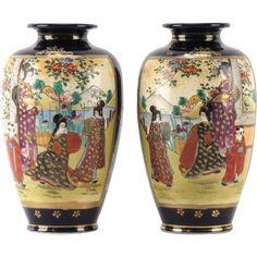 PAIR  of AntiqueSigned  Japanese Satsuma (Gosu) Cobalt Blue Hand-Painted Vases, Meiji period.