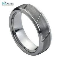 Polished Edges Brushed Middle With Diagonal Grooves Tungsten Carbide comfort fit 7mm His Hers Wedding Engagement Anniversary Unisex Ring