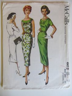 McCalls Printed Pattern with Instructions No. 4412 **Uncut and Unused** Size 14, Misses Dress Date: 1957 Bust: 34 Hip: 36 Envelope shows