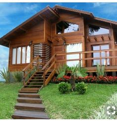 Tropical House Design, Tropical Houses, Log Cabin Homes, Cottage Homes, House In The Woods, My House, Wooden House Design, Attic Design, Dream House Exterior