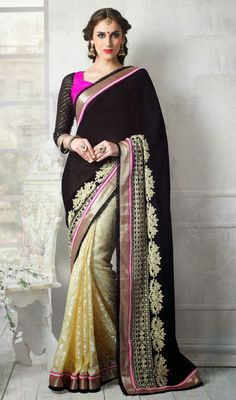 Black and Cream Shade Brasso Chiffon Half N Half Saree Price: Usa Dollar $108, British UK Pound £64, Euro80, Canada CA$117 , Indian Rs5832.