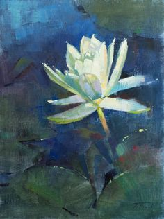 """I caught this one just as it was opening up on a cool San Angelo, Texas morning. """"White Water Lily"""" (oil on linen, 12""""x16""""). Painted at the International Waterlily Collection for Plein Air Texas 2017. #patricksaunders #patricksaundersfineart #patricksaundersfinearts #patsaunders #pleinairpainter #pleinairartist #pleinair #enpleinair #pleinairstreaming #saundersfinearts #waterlily #floralpainting #flowerpainting #pleinairpainting"""