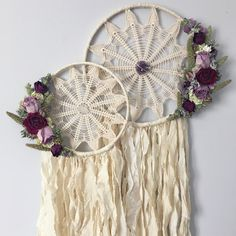 Set of two Dreamcatchers | Doily Dreamcatchers | Wallhanging | Boho Dreamcatcher | Dried Flowers | Amethyst