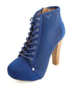 perforated lace-up platform booties