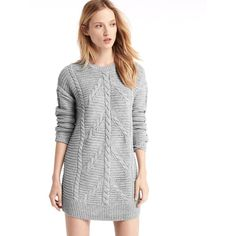 Gap Women Plait Cable Knit Sweater Dress ($80) ❤ liked on Polyvore featuring dresses, heather grey, tall, gap dresses, cable sweater dress, woven dress, long sleeve dress and braid dress