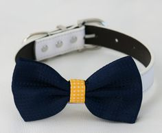 Navy Yellow Dog Bow tie Pet accessory Polka dots by LADogStore
