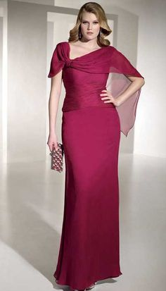 e8e75adfaa19c Asymmetrical Burgundy Chiffon A-Line Wedding Mother of the bride  Cap-Sleeves Custom Made All Colors