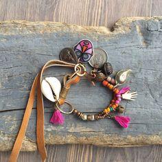 Hippie boho multi strand bracelet Cowrie shell by BeadStonenSkin