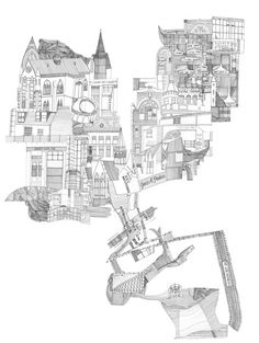 Nigel peake - six cities architecture mapping, urban architecture, space ma Architecture Mapping, Urban Architecture, Landscape Drawings, Art Drawings, Landscapes, Digital Illustration, Graphic Illustration, Architectural Section, Sketch Inspiration
