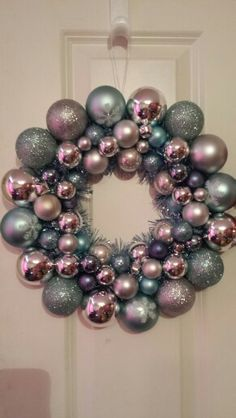 Blue and silver bauble wreath.