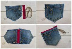 Il tempo di Ely  piccola pochette con le tasche dei jeans