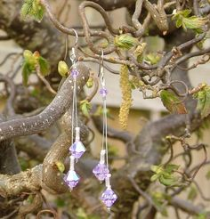 Violet lilac Swarovski crystal and sterling silver dangle earrings - pinned by pin4etsy.com