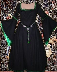 Medieval Gown LOTR Renaissance Costume SCA Garb Midnight Early Med Period 1 Piece Gown w Lined Angel Wing Sleeves. $74.00, via Etsy.