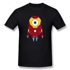 Jahei Avengers Tony Stark Iron Man Despicable Me Minions Tshirt For Men Black Large