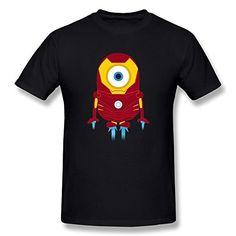 Jahei Avengers Tony Stark Iron Man Despicable Me Minions Tshirt For Men Black Large