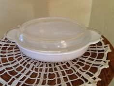 Vintage Coorning Covered personal casserole dish White and