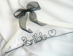 Engagement Gift Brides, Wedding Dress Hanger With Ribbon In Custom Colors. $35.00, via Etsy.