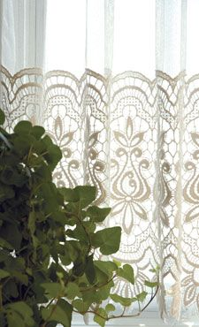 Allium - Macrame curtain lace by Heritage Lace. #lace #curtains #macrame
