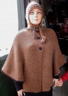 Brown Cape knitted of Alpaca wool