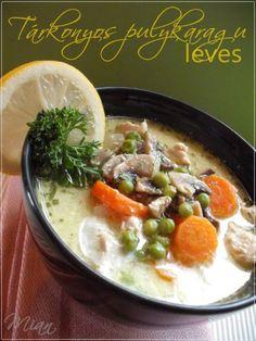 Tárkonyos pulykaragu leves | Ancsika konyhája Easy Healthy Recipes, My Recipes, Soup Recipes, Easy Meals, Hungarian Recipes, Hungarian Food, Tasty, Yummy Food, Delicious Meals