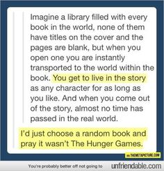 That would be cool as long as I don't get a book involved with so much killing...