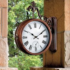 Our Two Sided Clock U0026 Thermometer Features 2 Outdoor Clocks, Thermometer,  And Barometer. A Great Addition To Your Outdoor Decor.