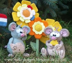 Crochet - Cheese Mice and cheese flowers, crochet, pdf - a designer piece of Mala designs on DaWanda