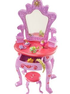 Disney Tangled Royal Vanity This elegant playset features an intricately designed vanity in pink and lavender with swivel ''mirror;'' opening drawers and a matching stool. Disney Princess Nails, Princess Toys, Disney Princess Dresses, Barbie Princess, Princess Merida, Baby Dolls For Kids, Little Girl Toys, Toys For Girls, Tangled Bedroom