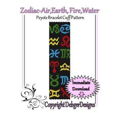 Zodiac air earth fire water  Beaded Peyote by FUNPATTERNDESIGNS, $4.50