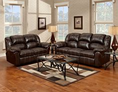 Dual Reclining Sofa and Dual Reclining Loveseat - Sink into the relaxing scene of the motion collection. An upholstered reclining love seat and sofa are available in a deep brown leather. Pillow top arms, plush seat and back cushions and a comfortable footrest combine for immense comfort and relaxation.
